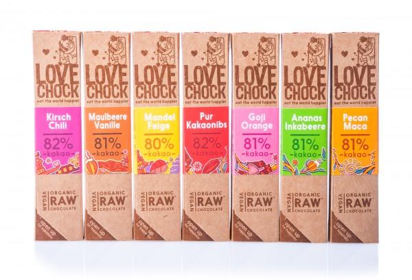 Lovechock Bio Rohkost Schokoladen-Bundle, 7 Sorten je 40 g