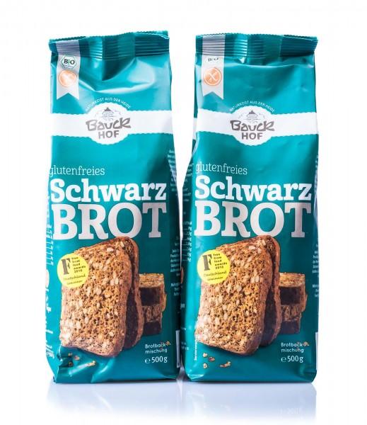 Bauckhof Bio Schwarzbrot Brotbackmischung, 2er Pack (2 x 500 g)