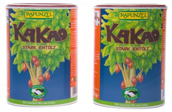 Rapunzel Bio Kakaopulver stark entölt HiH, 2er Pack (2 x 250 g)