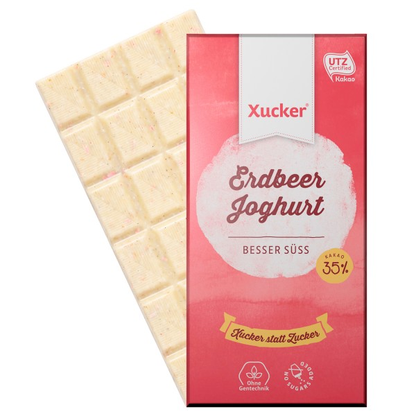 Xucker Weiße Erdbeer-Joghurt-Schokolade, 5er Pack (5 x 100 g)