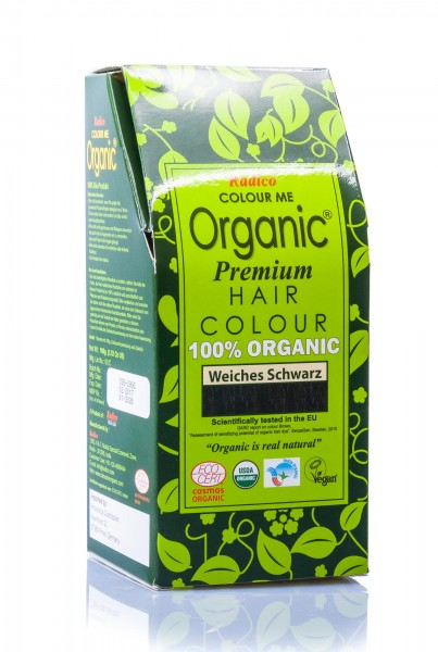 Radico Colour Me Organic Pflanzenhaarfarbe Soft Black weiches schwarz, 100 g