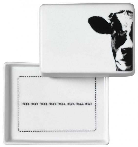 "Räder Butterdose ""Kuh, moo. muh. moo"", groß, 13,5 x 10,5 cm"