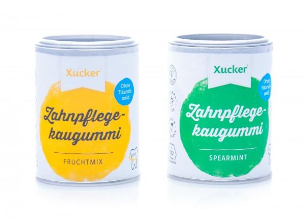 Xucker Zahnpflegekaugummis Spearmint und Fruchtmix im 2er Set (2 x 100 g)