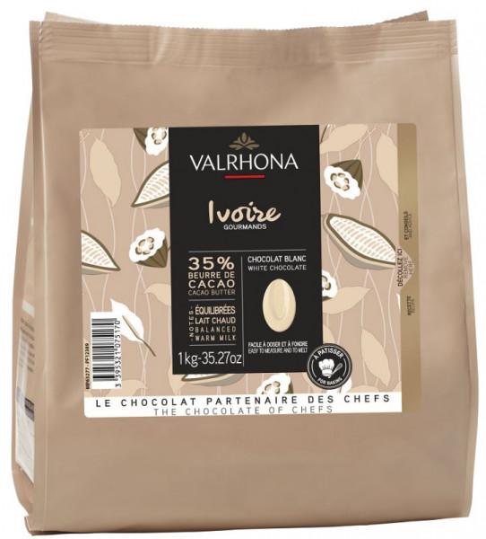 Valrhona Schokobohnen Weiße Schokolade Ivoire mit 35% Kakaoanteil, 1000 g
