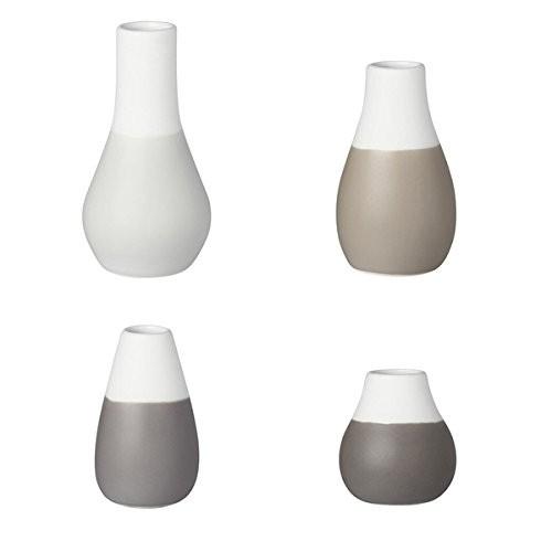 Räder Mini Pastellvasen in Grautönen, Set aus 4 Vasen, zwischen 4,5 - 8 cm hoch
