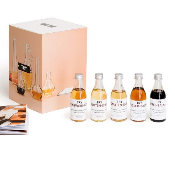Essig Set Geschenkset 5 x 50 ml I Apfelessig, Quittenessig, Weißweinessig, Balsamico Essig, Tomatene