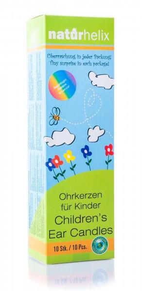 Naturhelix Kinder Ohrkerzen in Regenbogenfarben mit Kamillenöl, 10er Packung