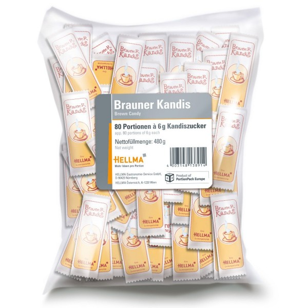 Hellma Brauner Kandis, 80 x 6 g (480 g)