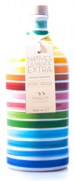 Muraglia Natives Olivenöl extra im Tonkrug mit Streifen, 500 ml