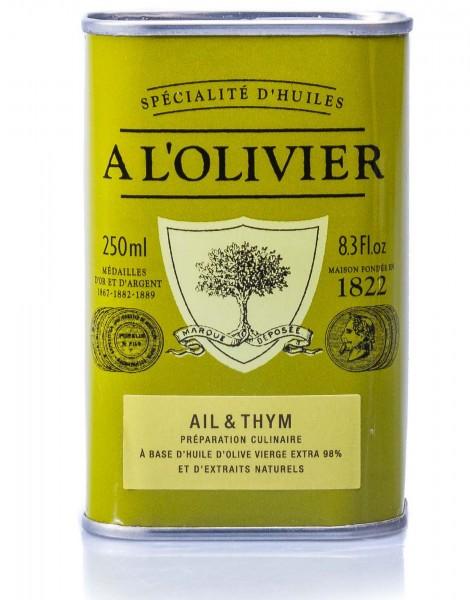 A L'Olivier Olivenöl mit frischem Knoblauch & Thymian, 250 ml