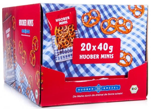 Huober Bio Mini Brezel, Huober Minis, 1 Thekendisplay mit 20 Packungen x 40 g