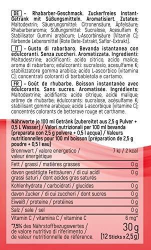 Instick zuckerfreies Instant-Getränk, Geschmack Rhabarber, 12er Pack (12 x 2,5 g für je 0,5 l)
