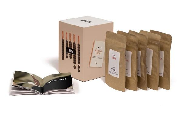 TRY Schokolade Geschenkset, Verkostung mit fünf Grand Cru Schokoladen und 60-seitigem Booklet. Das p