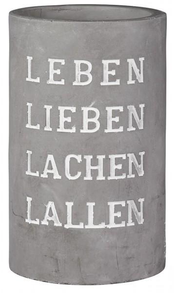 """Räder Weinkühler Vino """"Leben Lieben Lachen Lallen"""", aus Beton mit Prägung, 21 cm hoch"""