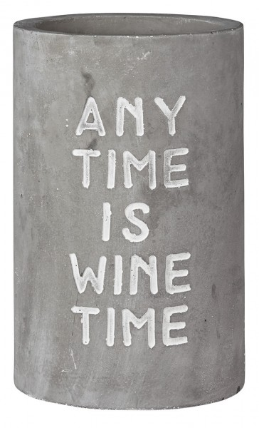 "Räder Weinkühler Vino ""Any Time is Wine Time"", aus Beton mit Prägung, 21 cm hoch"