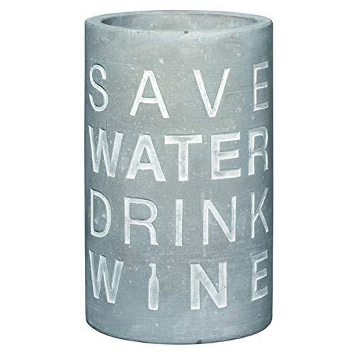 """Räder Weinkühler Vino """"Save Water Drink Wine"""", aus Beton mit Prägung, 21 cm hoch"""
