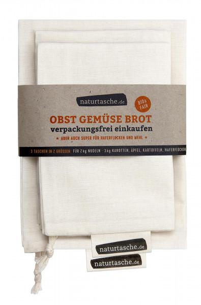 Naturtasche Obstbeutel Gemüsebeutel Brotbeutel aus Bio-Baumwolle, 3er-Set, wiederverwendbar waschbar