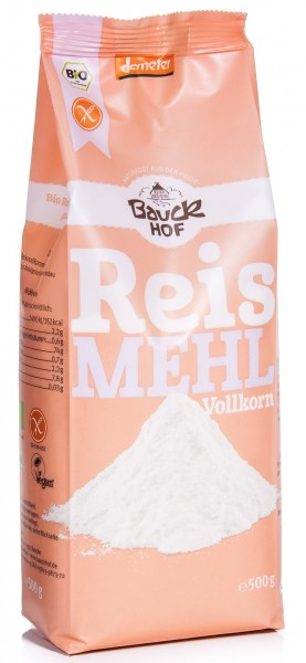 Bauckhof Bio Reismehl Vollkorn, 500 g