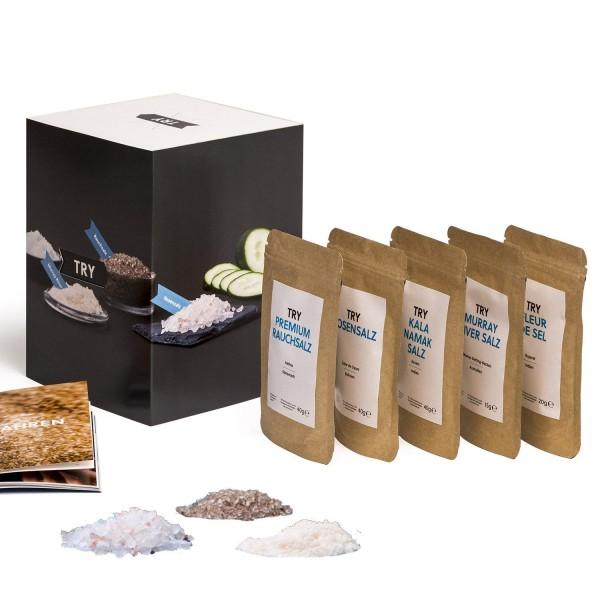Salz Set Geschenkset I Fleur de Sel, Murray River, Rosensalz, Rauchsalz, Kala Namak I Hochwertige Ge