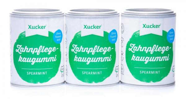 Xucker Zahnpflegekaugummis Spearmint, 3er Pack (3 x 100 g)