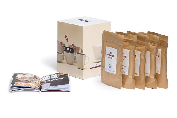 TRY Kaffee Geschenkset, ganze Bohnen, fünf Spitzen-Kaffees aus aller Welt & 60-seitiges Booklet - d